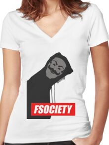 mr robot Women's Fitted V-Neck T-Shirt