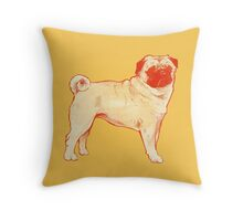 pugs and kisses | cute pug dog drawing art illustration squishy face show stack canine yellow Throw Pillow