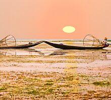 Fishermen at Sunset. by bulljup