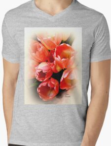 Orange Tulips Mens V-Neck T-Shirt