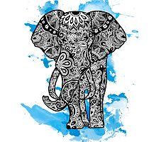 Tribal Elephant- Blue by Tiffany Taimoorazy
