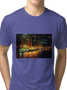 The Chicago River at Night Tri-blend T-Shirt
