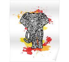 Tribal Elephant- Red Orange Poster