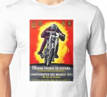 1953 Spanish Grand Prix Motorcycle Race Poster Unisex T-Shirt