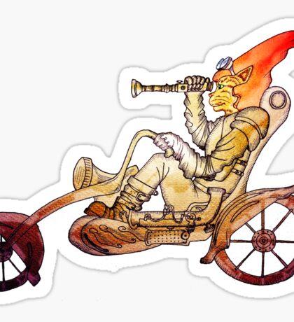 Steampunk Cat Motorcycle Sticker