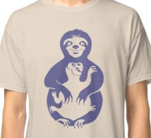 Momma Sloth and Baby in Retro Blue Classic T-Shirt