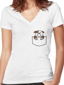 Pocket Bulldog Women's Fitted V-Neck T-Shirt