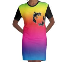 rainbow Black Satanic Leaftail Geckos Graphic T-Shirt Dress