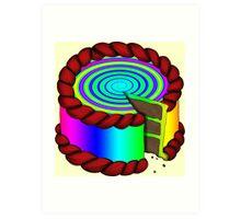 Rainbow swirl cake Art Print