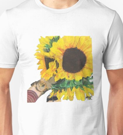 Woman Holding Sunflowers Unisex T-Shirt