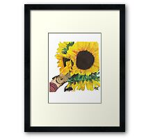 Woman Holding Sunflowers Framed Print