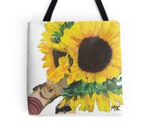 Woman Holding Sunflowers Tote Bag
