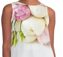 Wedding bouquet of ranunculus and peony flowers on white  Contrast Tank