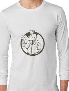 Businessman Fedora Hat Bank Notes Circle Cartoon Long Sleeve T-Shirt