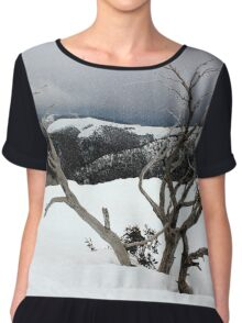 A snowstorm on a mountainside in Australia Chiffon Top