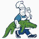 Chef Alligator Spatula Walking Cartoon by patrimonio