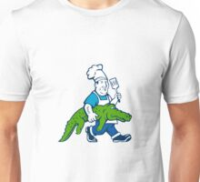 Chef Alligator Spatula Walking Cartoon Unisex T-Shirt