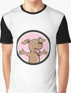 Happy Puppy Arms Out Circle Cartoon Graphic T-Shirt