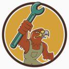 Hawk Mechanic Pipe Spanner Circle Cartoon by patrimonio