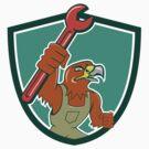 Hawk Mechanic Pipe Spanner Crest Cartoon by patrimonio