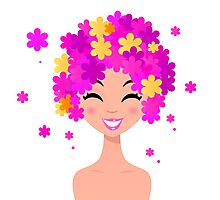 Girl with pink floral hairstyle : original hand-drawn illustration Photographic Print