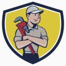 Plumber Arms Crossed Crest Cartoon by patrimonio