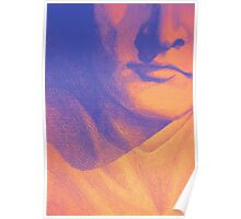 Colorful detail drawing of man face Poster