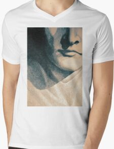 Colorful detail drawing of man face Mens V-Neck T-Shirt