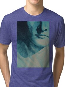 Colorful detail drawing of man face Tri-blend T-Shirt