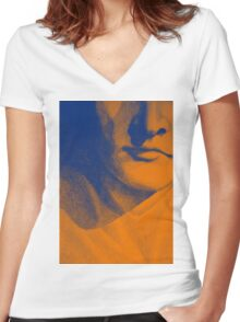 Detail drawing of man face Women's Fitted V-Neck T-Shirt