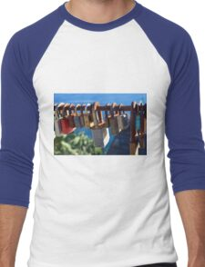 7 August 2016 Photography of many locks on a fence in Vernazza, Italy Men's Baseball ¾ T-Shirt