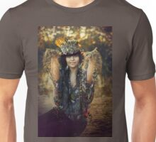 woman sitting outdoor in autumn scenery Unisex T-Shirt