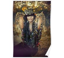 woman sitting outdoor in autumn scenery Poster