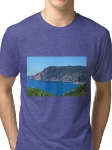 The beautiful bay of Vernazza. Blue water and hills, natural landscape. Tri-blend T-Shirt