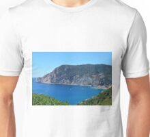 The beautiful bay of Vernazza. Blue water and hills, natural landscape. Unisex T-Shirt