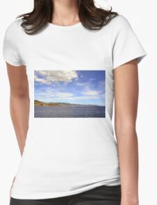 The beautiful landscape from Portofino with the blue sea and cloudy sky Womens Fitted T-Shirt