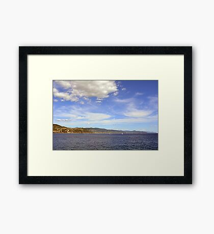 The beautiful landscape from Portofino with the blue sea and cloudy sky Framed Print