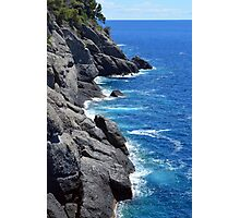 The blue sea and rocky land from Portofino Photographic Print