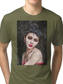 Beautiful woman with asian make-up Tri-blend T-Shirt