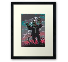 frankenstein creature in storm  Framed Print