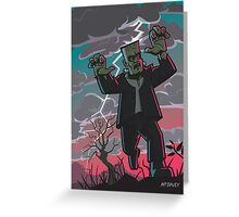 frankenstein creature in storm  Greeting Card