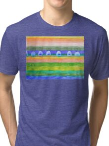 Blue Trees within Striped Landscape Tri-blend T-Shirt