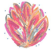 Pink orange flaming leaves Photographic Print