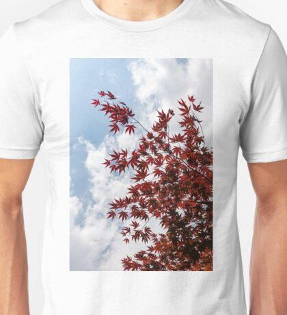 Japanese Maple Red Lace - Vertical Up Left Unisex T-Shirt