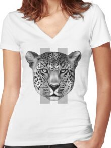Leopard Pause Women's Fitted V-Neck T-Shirt