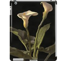 White Calla Lilies On A Black Background iPad Case/Skin