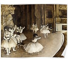 Edgar Degas - Ballet Rehearsal on Stage (1874)  Poster