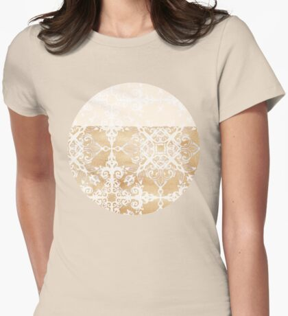 White Doodle Pattern on Sepia Ink Womens Fitted T-Shirt