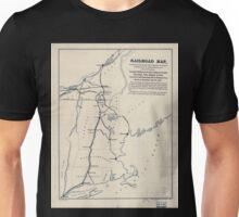 0056 Railroad Maps Railroad map showing the fact that about 65 miles of railroad to be constructed would form one of the principal railroad connections on this Unisex T-Shirt
