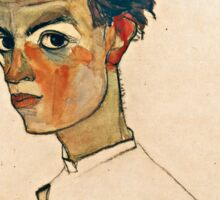 Egon Schiele - Self Portrait with Striped Shirt (1910)  Sticker